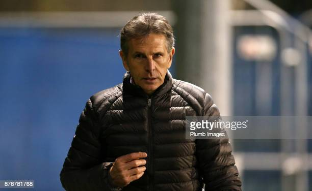 Manager Claude Puel of Leicester City in attendance for the Premier League 2 match between Leicester City and Sunderland at Holmes Park on November...