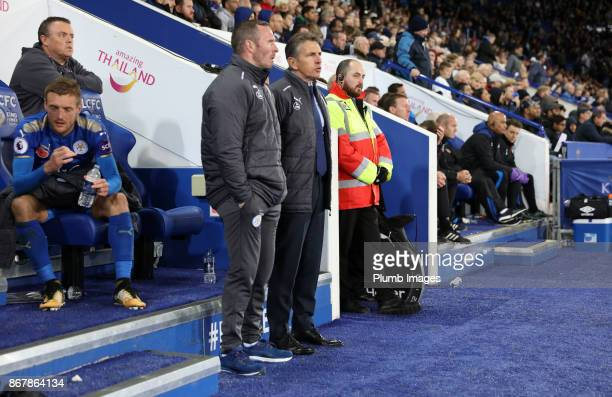 Manager Claude Puel of Leicester City with Assistant Manager Michael Appleton of Leicester City during the Premier League match between between...