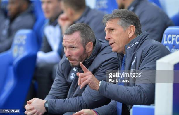 Manager Claude Puel of Leicester City with assistant manager Michael Appleton at King Power Stadium ahead of the Premier League match between...