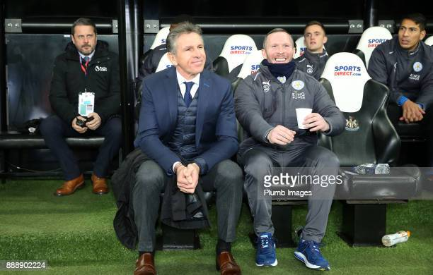 Manager Claude Puel of Leicester City with Assistant Manager Michael Appleton of Leicester City at St James Park ahead of the Premier League match...