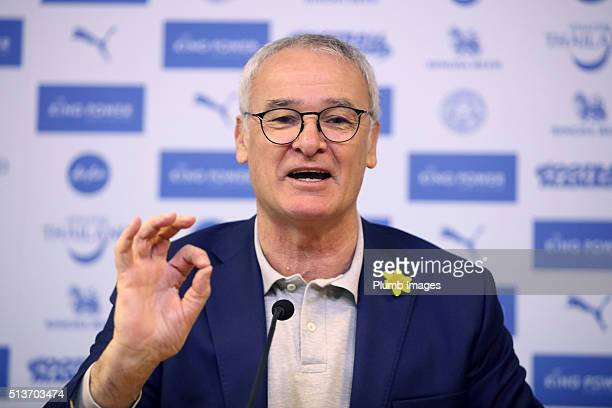 Manager Claudio Ranieri during the Leicester City press conference at King Power Stadium on March 04 2016 in Leicester United Kingdom