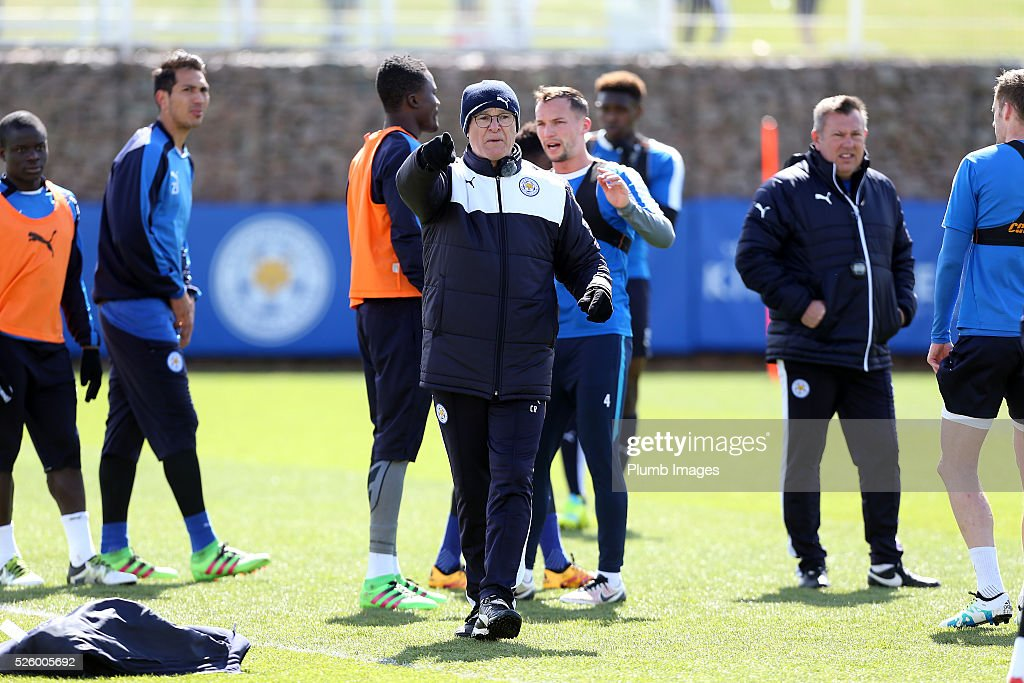 Manager Claudio Ranieri during the Leicester City training session at Belvoir Drive Training Complex on April 29, 2016 in Leicester, United Kingdom.