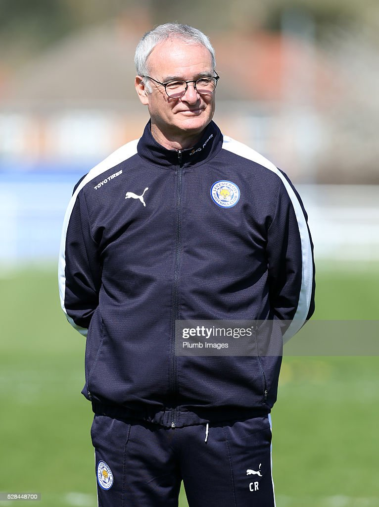 Manager <a gi-track='captionPersonalityLinkClicked' href=/galleries/search?phrase=Claudio+Ranieri&family=editorial&specificpeople=204468 ng-click='$event.stopPropagation()'>Claudio Ranieri</a> looks on during the Leicester City training session at Belvoir Drive Training Complex on May 05, 2016 in Leicester, United Kingdom.