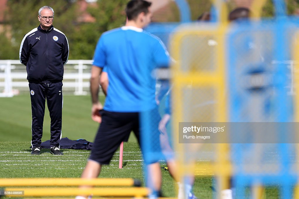 Manager Claudio Ranieri looks on during the Leicester City training session at Belvoir Drive Training Complex on May 05, 2016 in Leicester, United Kingdom.