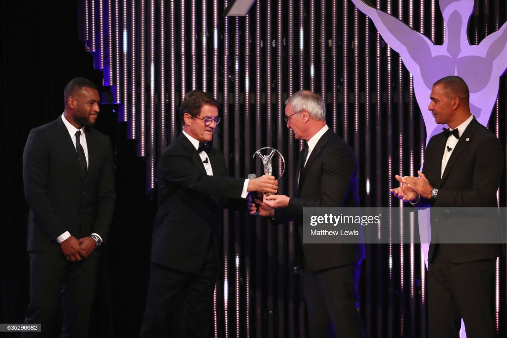 Manager Claudio Ranieri of (2ndR) and captain Wes Morgan (L) accept the Laureus Spirit of Sport on behalf of Leicester City FC on stage from Laureus Ambassador Fabio Capello (2ndL) as Laureus Academy Member Ruud Gullit during the 2017 Laureus World Sports Awards at the Salle des Etoiles,Sporting Monte Carlo on February 14, 2017 in Monaco, Monaco.