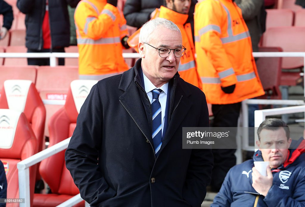 Manager Claudio Ranieri of Leicester City arrives at Emirates Stadium ahead of the Barclays Premier League match between Arsenal and Leicester City at Emirates Stadium on February 14, 2016 in London, United Kingdom.