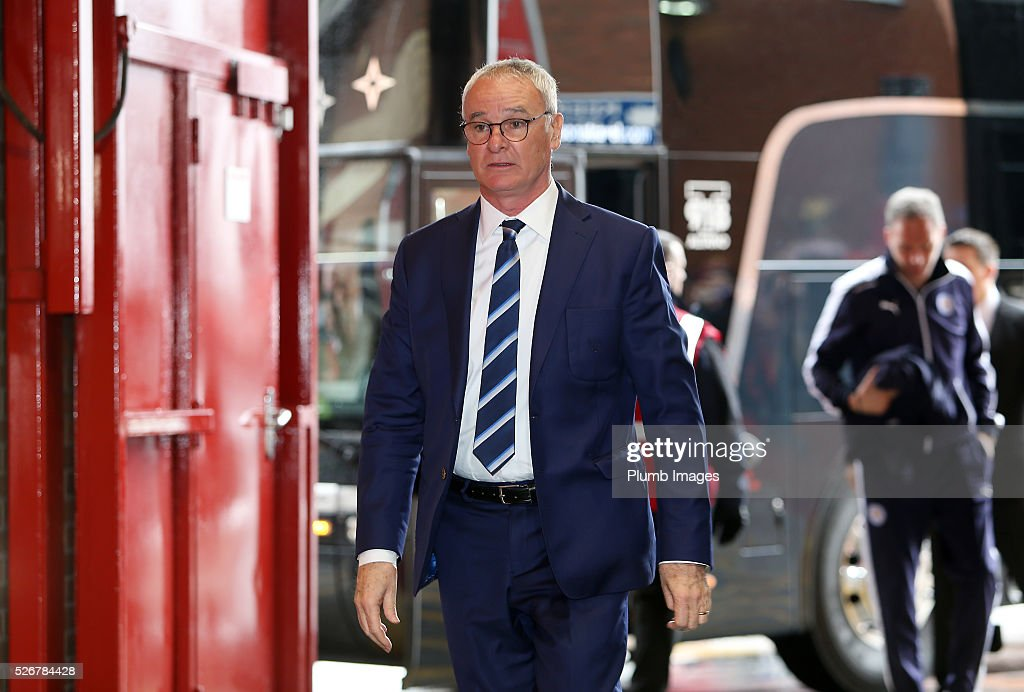 Manager Claudio Ranieri of Leicester City arrives at Old Trafford ahead of the Premier League match between Manchester United and Leicester City at Old Trafford on May 01, 2016 in Manchester, United Kingdom.