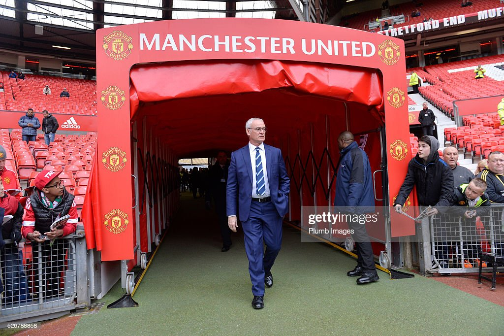 Manager <a gi-track='captionPersonalityLinkClicked' href=/galleries/search?phrase=Claudio+Ranieri&family=editorial&specificpeople=204468 ng-click='$event.stopPropagation()'>Claudio Ranieri</a> of Leicester City at Old Trafford ahead of the Premier League match between Manchester United and Leicester City at Old Trafford on May 01, 2016 in Manchester, United Kingdom.