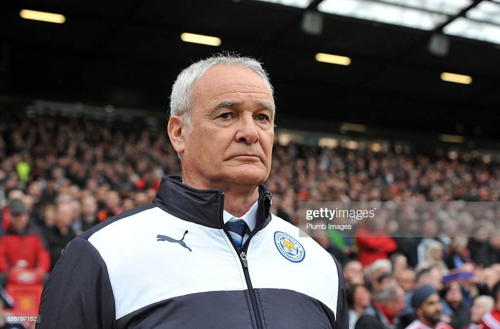 Manager Claudio Ranieri of Leicester City during the Premier League match between Manchester United and Leicester City at Old Trafford on May 01, 2016 in Manchester, United Kingdom.