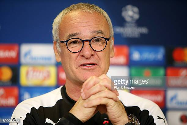 Manager Claudio Ranieri of Leicester City talks to the media at Telia Parken Stadium ahead of the Champions League match between FC Copenhagen and...