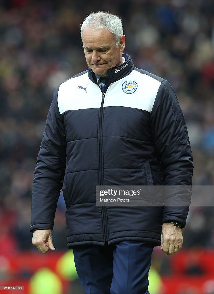 Manager <a gi-track='captionPersonalityLinkClicked' href=/galleries/search?phrase=Claudio+Ranieri&family=editorial&specificpeople=204468 ng-click='$event.stopPropagation()'>Claudio Ranieri</a> of Leicester City walks off at halftime during the Barclays Premier League match between Manchester United and Leicester City at Old Trafford on May 1, 2016 in Manchester, England.