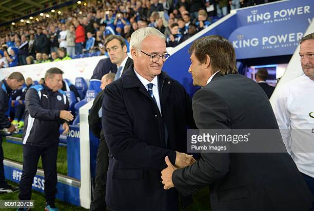 Manager Claudio Ranieri of Leicester City welcomes manager Antonio Conte of Chelsea to King Power Stadium ahead of the EFL third round cup match...