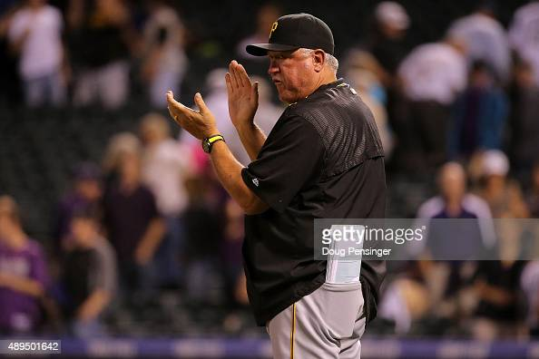 Manager Clint Hurdle of the Pittsburgh Pirates celebrates his teams 93 victory over the Colorado Rockies at Coors Field on September 21 2015 in...