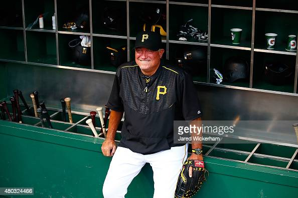 Manager Clint Hurdle of the Pittsburgh Pirates in action against the Cleveland Indians during the game at PNC Park on July 3 2015 in Pittsburgh...