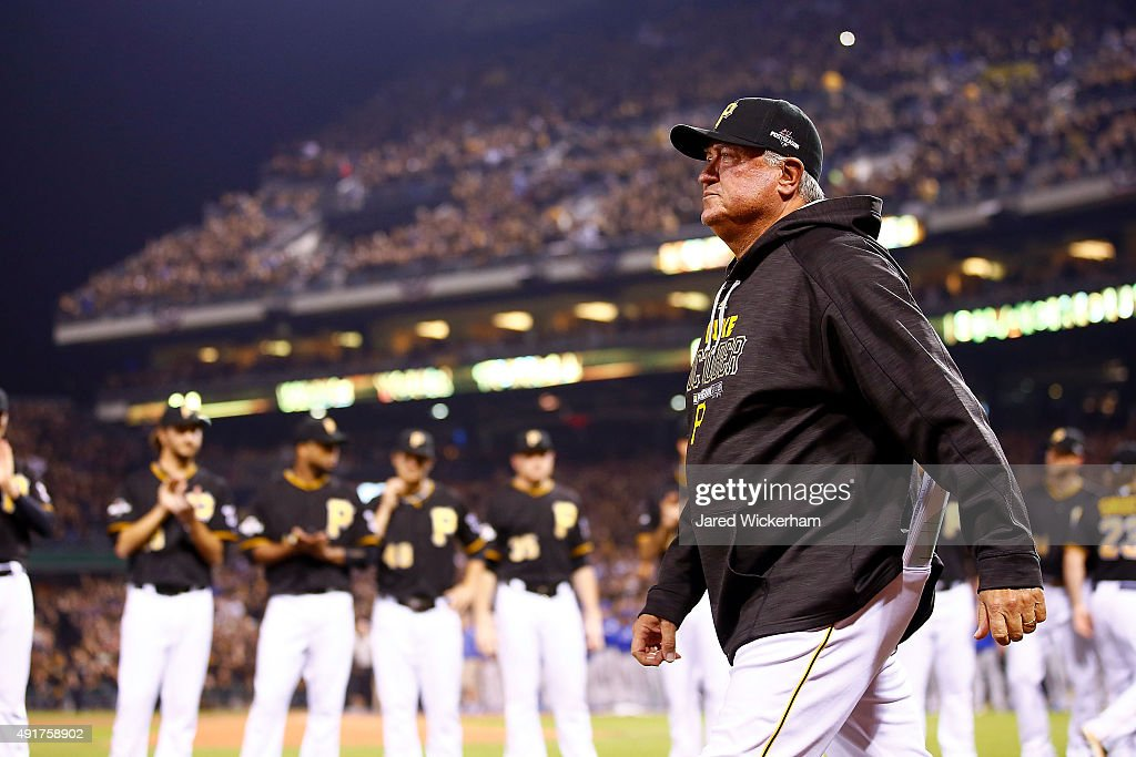 Manager Clint Hurdle of the Pittsburgh Pirates is introduced prior to the National League Wild Card game between the Pittsburgh Pirates and the...