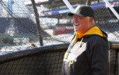Manager Clint Hurdle of the Pittsburgh Pirates laughs during batting practice on Opening Day at PNC Park March 31 2014 in Pittsburgh Pennsylvania