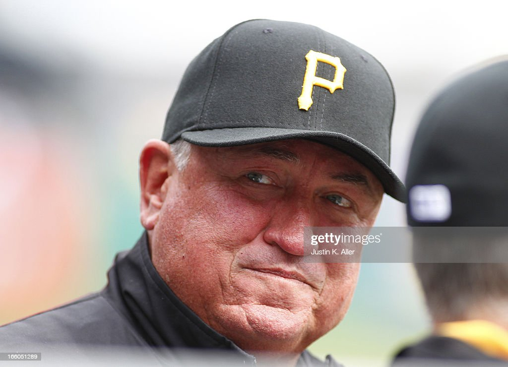 Manager Clint Hurdle #13 of the Pittsburgh Pirates looks on against the Chicago Cubs during the game on April 4, 2013 at PNC Park in Pittsburgh, Pennsylvania.