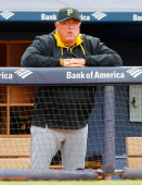 Manager Clint Hurdle of the Pittsburgh Pirates looks on against the New York Yankees at Yankee Stadium on May 18 2014 in the Bronx borough of New...
