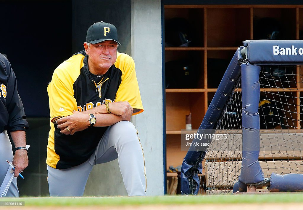Manager Clint Hurdle of the Pittsburgh Pirates looks on against the New York Yankees at Yankee Stadium on May 17 2014 in the Bronx borough of New...