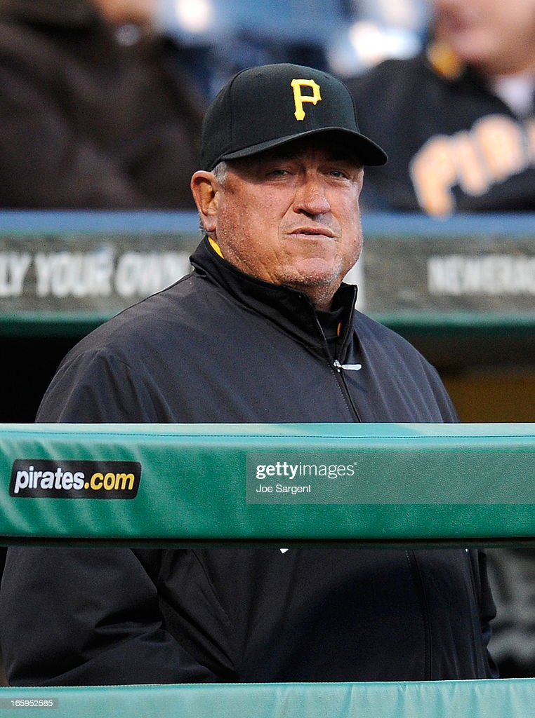 Manager Clint Hurdle of the Pittsburgh Pirates looks on during the game against the Chicago Cubs on April 3, 2013 at PNC Park in Pittsburgh, Pennsylvania.