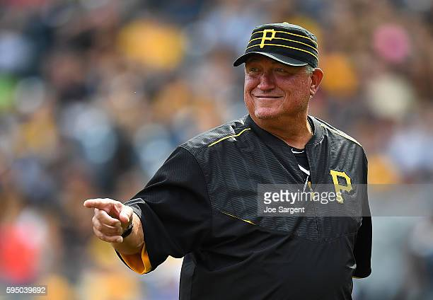 Manager Clint Hurdle of the Pittsburgh Pirates looks on during the game against the Miami Marlins on August 21 2016 at PNC Park in Pittsburgh...