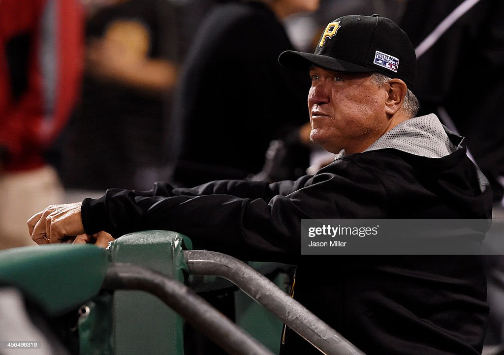 Manager Clint Hurdle of the Pittsburgh Pirates looks on during their 8 to 0 loss to the San Francisco Giants in the National League Wild Card game at...