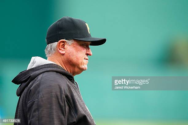 Manager Clint Hurdle of the Pittsburgh Pirates looks on during batting practice prior to the National League Wild Card game against the Chicago Cubs...