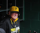 Manager Clint Hurdle of the Pittsburgh Pirates looks on from the dugout before a game against the Milwaukee Brewers at PNC Park on September 21 2014...