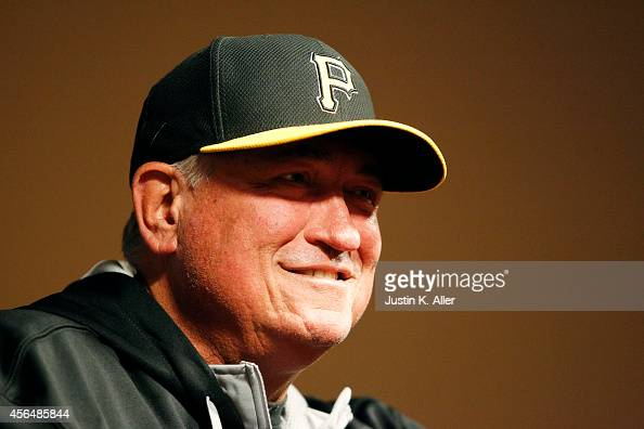 Manager Clint Hurdle of the Pittsburgh Pirates speaks to the media prior to their National League Wild Card game against the San Francisco Giants at...