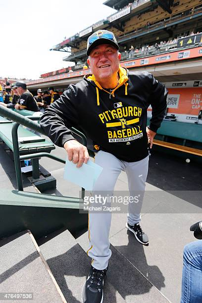 Manager Clint Hurdle of the Pittsburgh Pirates stands in the dugout prior to the game against the San Francisco Giants at ATT Park on June 3 2015 in...