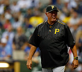 Manager Clint Hurdle of the Pittsburgh Pirates walks onto the field against the Milwaukee Brewers at Miller Park on September 3 2015 in Milwaukee...