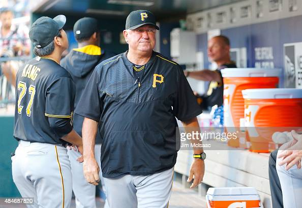 Manager Clint Hurdle of the Pittsburgh Pirates walks through the dugout before a game against the New York Mets at Citi Field on August 14 2015 in...