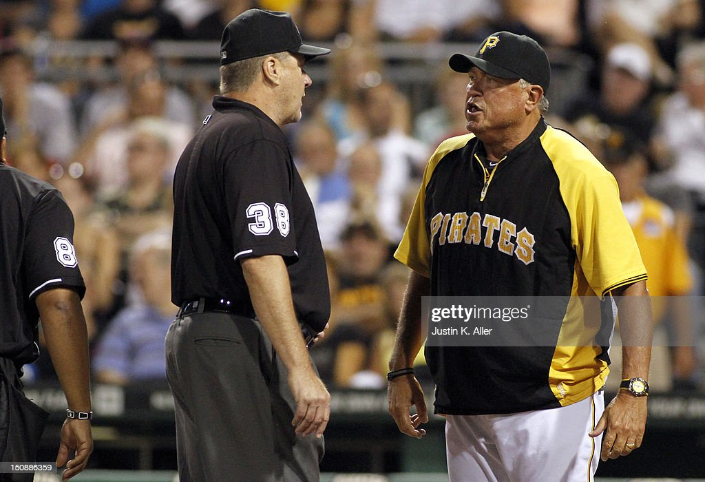Manager Clint Hurdle #13 of the Pittsburgh Pirates yells at an umpire during the game against the St. Louis Cardinals on August 28, 2012 at PNC Park in Pittsburgh, Pennsylvania.