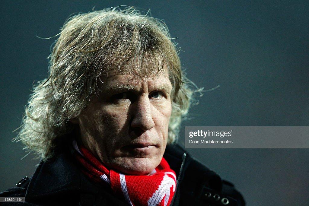 AZ Manager / Coach, Gertjan Verbeek looks on during the Eredivisie match between AZ Alkmaar and FC Twente at the AFAS Stadium on December 21, 2012 in Alkmaar, Netherlands.
