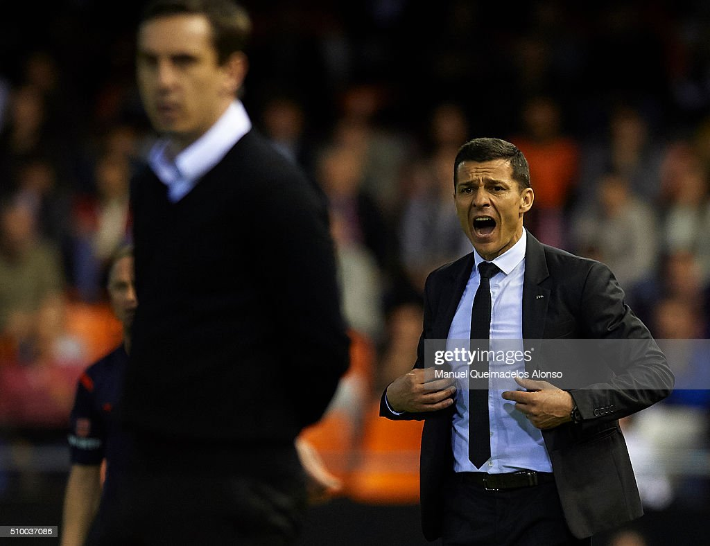 Manager Constantin Galca of Espanyol reacts during the La Liga match between Valencia CF and RCD Espanyol at Estadi de Mestalla on February 13, 2016 in Valencia, Spain.