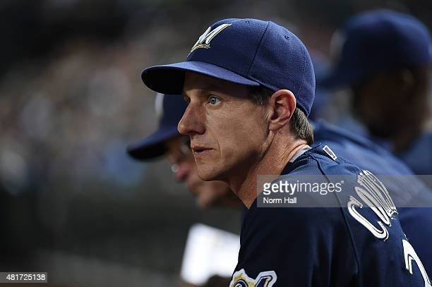 Manager Craig Counsell of the Milwaukee Brewers looks on from the bench during the ninth inning of a game against the Arizona Diamondbacks at Chase...