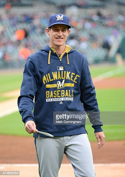 Manager Craig Counsell of the Milwaukee Brewers looks on prior to the game against the Detroit Tigers at Comerica Park on May 20 2015 in Detroit...