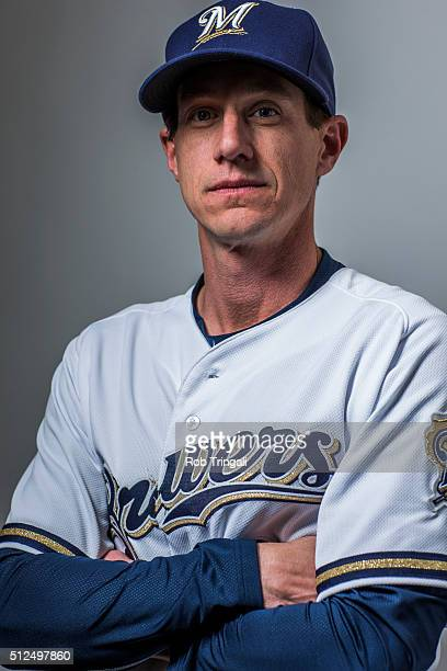 Manager Craig Counsell of the Milwaukee Brewers poses during photo day at the Maryvale sports complex on February 26 2016 in Maryvale Arizona