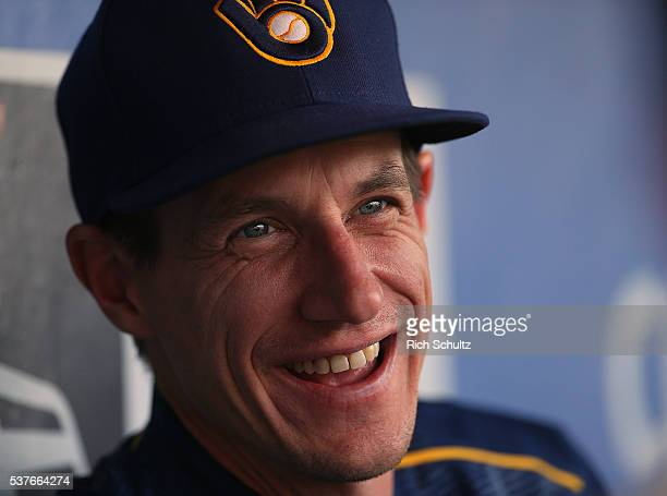 Manager Craig Counsell of the Milwaukee Brewers talks to reporters before a game against the Philadelphia Phillies at Citizens Bank Park on June 2...