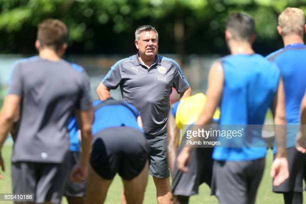 Manager Craig Shakespeare of Leicester City during the training session in Hong Kong ahead of the Premier League Asia Trophy final against Liverpool...