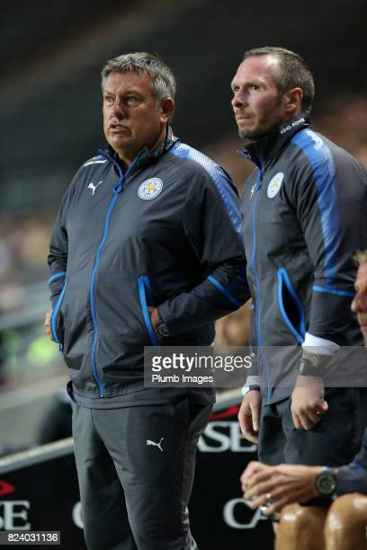 Manager Craig Shakespeare of Leicester City with assistant manager Michael Appleton of Leicester City during the pre season friendly between MK Dons...