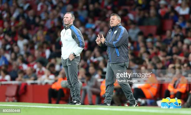 Manager Craig Shakespeare of Leicester City with Assistant Manager Michael Appleton of Leicester City during the Premier League match between Arsenal...