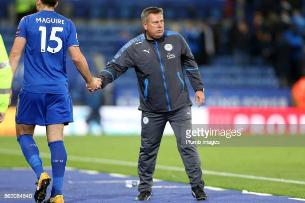 Manager Craig Shakespeare of Leicester City with Harry Maguire of Leicester City after the Premier League match between Leicester City and West...
