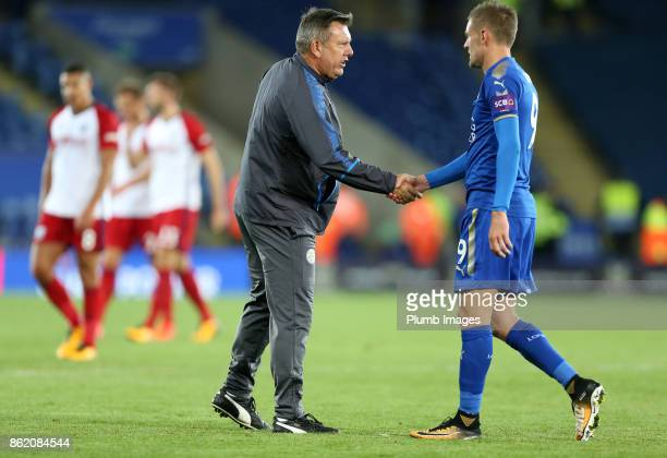 Manager Craig Shakespeare of Leicester City with Jamie Vardy of Leicester City after the Premier League match between Leicester City and West...