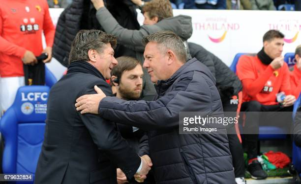 Manager Craig Shakespeare of Leicester City with Manager Walter Mazzarri of Watford at King Power Stadium during of the Premier League match between...