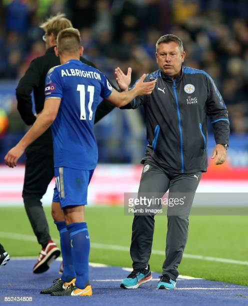 Manager Craig Shakespeare of Leicester City with Marc Albrighton of Leicester City during the Premier League match between Leicester City and...