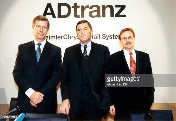 Manager D Vorstandsvorsitzender der Internationalen Geschäftsführung Adtranz DaimlerChrysler Rail System mit Bert K van Dijk Vizepräsident und...