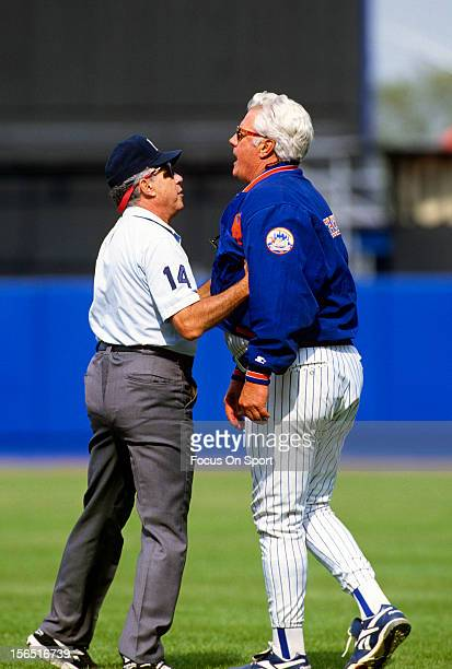 Manager Dallas Green of the New York Mets argues with an umpire during a Major League Baseball game circa 1995 at Shea Stadium in the Queens borough...