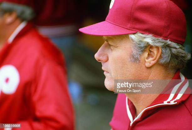 Manager Dallas Green of the Philadelphia Phillies looks on from the dugout during an Major League Baseball game circa 1980 at Veterans Stadium in...