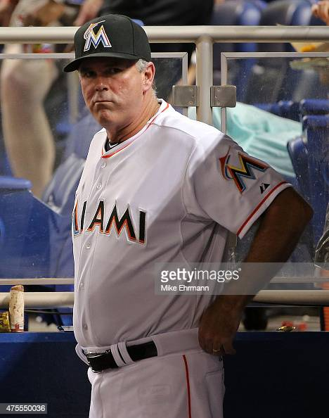 Manager Dan Jennings of the Miami Marlins looks on during a game against the Chicago Cubs at Marlins Park on June 1 2015 in Miami Florida